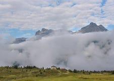Cloudy scene in swiss alps stock photo