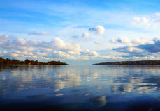 Cloudy scenery on the river Volga Stock Photography