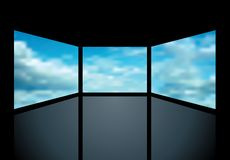 Cloudy screens. Abstract illustration with three screens with clouds Royalty Free Stock Photos