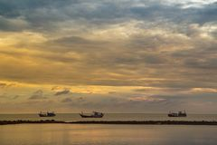 The Cloudy Sea in the early morning is like a fairyland in the sunrise and dawn stock photography