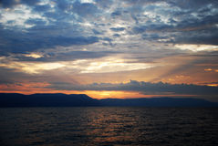Cloudy sea sunset Royalty Free Stock Photo
