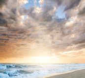 Cloudy sea sunset. Dramatic cloudy sunset at seaside Royalty Free Stock Images