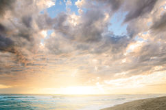Cloudy sea sunset. Dramatic cloudy sunset at seaside Stock Photography