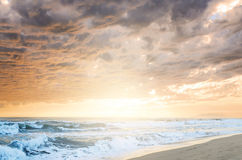 Cloudy sea sunset. Dramatic cloudy sunset at seaside Royalty Free Stock Image