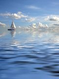 Cloudy seascape with a ship Stock Photography