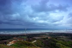 Cloudy seaside. In Miaoli, Taiwan Royalty Free Stock Photography