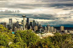Cloudy Seattle Space Needle Royalty Free Stock Photography