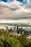 Cloudy Seattle Space Needle - Vertical Royalty Free Stock Photography