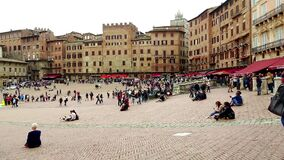 Cloudy September day in Piazza del Campo. Siena, Italy timelapse. SIENA, ITALY - SEPTEMBER 24, 2017: Cloudy September day in Piazza del Campo timelapse stock video