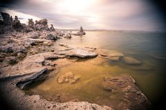 Cloudy skies above the salty Mono Lake. This picture shows the cloudy skies above the salty Mono Lake royalty free stock photos