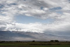 Cloudy skies over Mount Ararat in Armenia. Horizontal Stock Photo