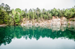 Cloudy skies and reflections a quarry Royalty Free Stock Image