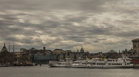 Cloudy skies, Stockholm, Sweden. Royalty Free Stock Photo