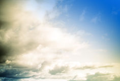 Cloudy skies in vintage style Stock Images