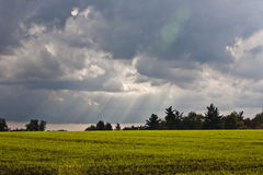 Cloudy sky. With sun and field Stock Photos