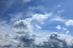 Cloudy Sky. Beautiful blue fluffy cloudy sky in a summer day Royalty Free Stock Image