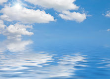 Cloudy Sky. This image shows a cloudy sky with sun and water vector illustration