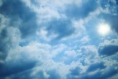 Cloudy sky. Sun light and blue cloudy sky Stock Image
