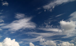 Cloudy sky. Daytime Cumulus, Cirrus, Cirrocumulus ... clouds and blue sky, clouds texture Stock Photos