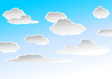 Cloudy sky. Gray clouds over blue to white gradient sky royalty free illustration
