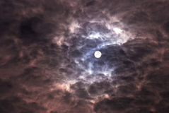 Cloudy sky. With sun gray and purple cloud Royalty Free Stock Images