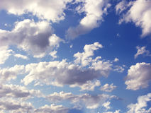 Cloudy sky. Bright blue sky with clouds Stock Photos