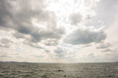 Cloudy sky above the bay in Pomorie, Bulgaria Stock Photo