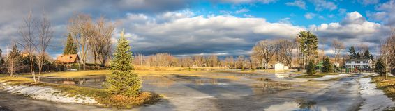 Cloudy Sky above the City of Westfield. Cloudy Sky in the City of Westfield, State of Massachusetts, Beautiful panoramic view and reflection in water Royalty Free Stock Photo