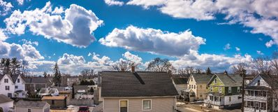 Cloudy Sky above the City of Westfield. Cloudy Sky in the City of Westfield, State of Massachusetts, Beautiful panoramic view Stock Images