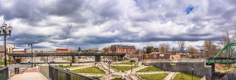 Cloudy Sky above the City of Westfield. Cloudy Sky in the City of Westfield, State of Massachusetts, Beautiful panoramic view Royalty Free Stock Photo