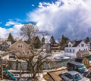Cloudy Sky above the City of Westfield. Cloudy Sky in the City of Westfield, State of Massachusetts, Beautiful panoramic view Stock Photography