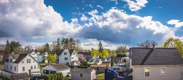 Cloudy Sky above the City of Westfield. Cloudy Sky in the City of Westfield, State of Massachusetts, Beautiful panoramic view Stock Photos