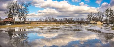 Cloudy Sky above the City of Westfield. Cloudy Sky in the City of Westfield, State of Massachusetts, Beautiful panoramic view and reflection in water Royalty Free Stock Images