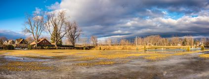 Cloudy Sky above the City of Westfield. Cloudy Sky in the City of Westfield, State of Massachusetts, Beautiful panoramic view and reflection in water Stock Image