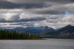 Cloudy sky above mountain lake. Stock Photography