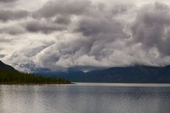 Cloudy sky above mountain lake. Lake Labynkyr In Yakutia Royalty Free Stock Photography
