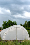 Cloudy sky above plastic greenhouse Stock Photos