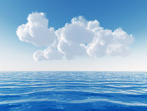 Cloudy sky above a sea. Cloudy blue sky leaving for horizon above a blue surface of the sea Royalty Free Stock Photo