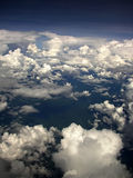 Cloudy sky background. View from airplane window to the cloudy sky background Stock Image