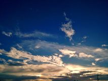 Cloudy sky background before strom. Start Royalty Free Stock Photography
