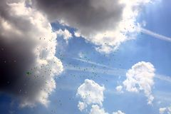 Cloudy sky with balloons Royalty Free Stock Images