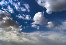 Cloudy sky. Beautiful blue sky with clouds running on it Stock Photo
