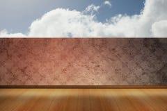 Cloudy sky beyond balcony. Cloudy sky beyond wallpaper balcony Stock Photography