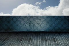 Cloudy sky beyond balcony. Cloudy sky beyond wallpaper balcony Stock Photo