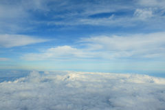 Cloudy sky and blue clear sky as carpet clouds  background,aerial Stock Photo