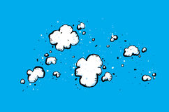 Cloudy Sky. Cartoon backdrop of a bright, blue sky with puffy, white clouds Royalty Free Stock Photography