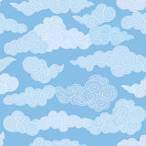 Cloudy sky chinese style geometgric tiled pattern. Stock Images