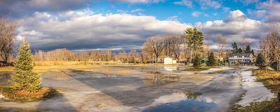 Cloudy Sky above the City of Westfield. Cloudy Sky in the City of Westfield, State of Massachusetts, Beautiful panoramic view and reflection in water Royalty Free Stock Image