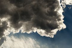 Cloudy sky, close-up. Photographed close-up of a cloud on a cloudy sky. Small depth of field royalty free stock images
