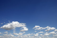 Cloudy sky. Clouds and blue sky ahead. Sunny summer day Royalty Free Stock Photos